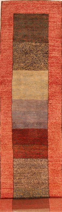 Persian Gabbeh Multicolor Runner 10 To 12 Ft Wool Carpet