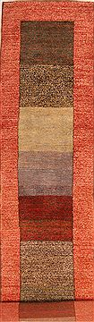 "Gabbeh Multicolor Runner Hand Knotted 2'7"" X 10'11""  Area Rug 100-23540"