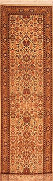 "Sarouk Beige Runner Hand Knotted 2'8"" X 9'11""  Area Rug 100-23564"