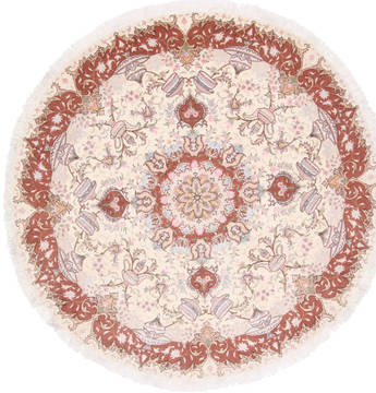 Persian Tabriz White Round 7 to 8 ft Wool Carpet 23604