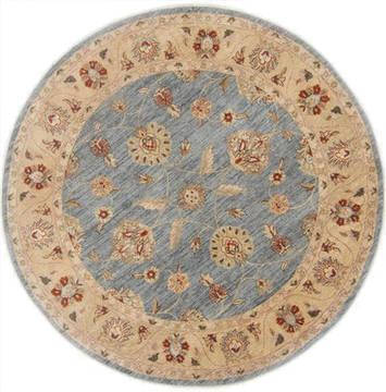 "Pakistani Chobi  Wool Grey Round Area Rug  (6'0"" x 6'0"") - 250 - 23606"