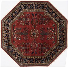 "Sarouk Red Octagon Hand Knotted 6'2"" X 6'2""  Area Rug 250-23624"