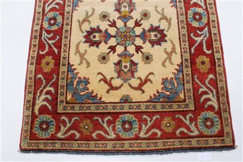 Pakistani Kazak Beige Runner 10 To 12 Ft Wool Carpet 23691