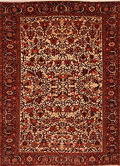 "Heriz Beige Hand Knotted 9'5"" X 13'0""  Area Rug 100-23765"
