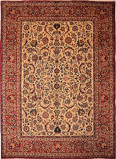 Persian Isfahan Beige Rectangle 9x13 ft Wool Carpet 23773