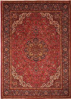"Tabriz Red Hand Knotted 9'8"" X 13'4""  Area Rug 100-23774"