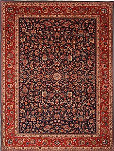"Kashan Blue Hand Knotted 9'10"" X 13'1""  Area Rug 100-23777"
