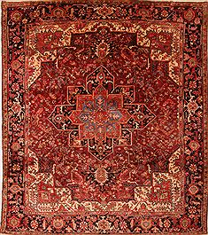 "Heriz Red Square Hand Knotted 10'9"" X 12'0""  Area Rug 100-23778"