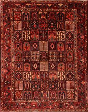 Persian Bakhtiar Red Rectangle 10x13 ft Wool Carpet 23787