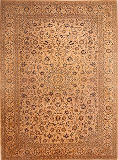 "Kashan Beige Hand Knotted 10'1"" X 13'6""  Area Rug 100-23797"