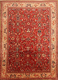"Sarouk Red Hand Knotted 9'9"" X 13'5""  Area Rug 100-23862"