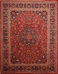 Persian Mashad Red Rectangle 10x13 ft Wool Carpet 23898