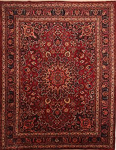 Persian Mashad Red Rectangle 10x14 ft Wool Carpet 23902