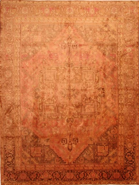 Persian Heriz Yellow Rectangle 10x13 Ft Wool Carpet 23925