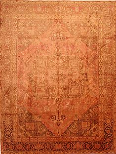 "Heriz Beige Hand Knotted 9'7"" X 12'9""  Area Rug 100-23925"