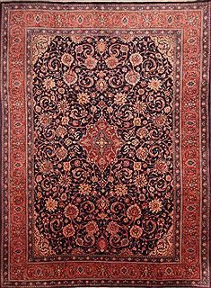 "Sarouk Red Hand Knotted 9'7"" X 12'6""  Area Rug 100-23928"