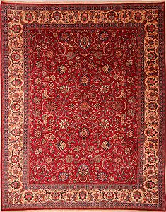 Persian Mashad Red Rectangle 10x12 ft Wool Carpet 23934