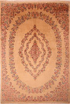 "Kerman Beige Hand Knotted 9'9"" X 14'1""  Area Rug 100-23982"