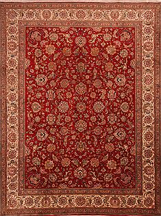 "Tabriz Red Hand Knotted 9'6"" X 12'8""  Area Rug 100-23999"