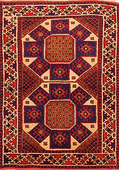 "Kazak Multicolor Hand Knotted 3'0"" X 4'3""  Area Rug 100-24186"