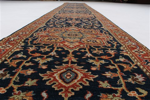 Indian Serapi Blue Runner 16 To 20 Ft Wool Carpet 24209