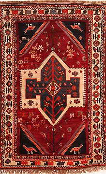 "Gabbeh Red Hand Knotted 4'3"" X 6'9""  Area Rug 100-24251"