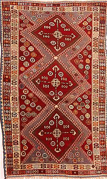 "Gabbeh Red Hand Knotted 4'3"" X 7'1""  Area Rug 100-24272"