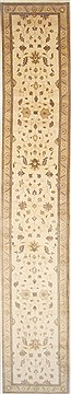 Pakistani Chobi Beige Runner 16 to 20 ft Wool Carpet 24277