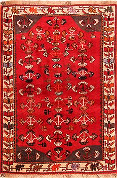 "Gabbeh Red Hand Knotted 4'0"" X 5'10""  Area Rug 100-24286"