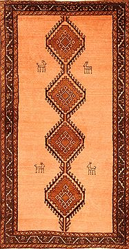 "Gabbeh Beige Hand Knotted 3'6"" X 6'8""  Area Rug 100-24289"
