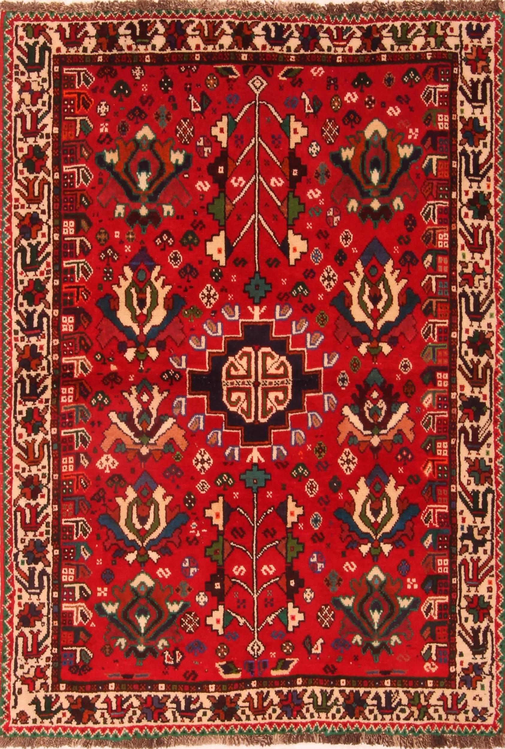 Persian Ghashghaei Red Rectangle 3x5 Ft Wool Carpet 24329 Area Rug