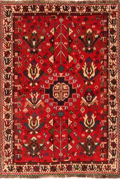 "Qashqai Red Hand Knotted 4'0"" X 5'4""  Area Rug 100-24329"