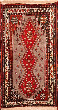 "Gabbeh Red Hand Knotted 3'9"" X 6'6""  Area Rug 100-24333"