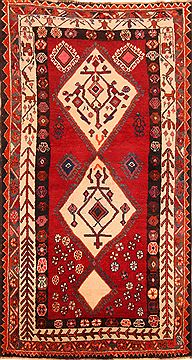 Persian Gabbeh Red Rectangle 3x5 ft Wool Carpet 24338