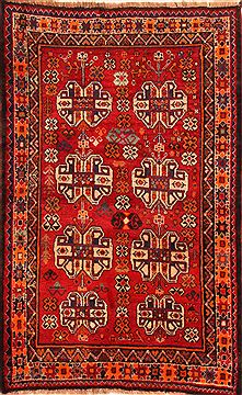 "Gabbeh Red Hand Knotted 3'10"" X 6'2""  Area Rug 100-24342"
