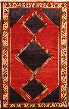 Afghan Gabbeh Red Rectangle 5x7 ft Wool Carpet 24351