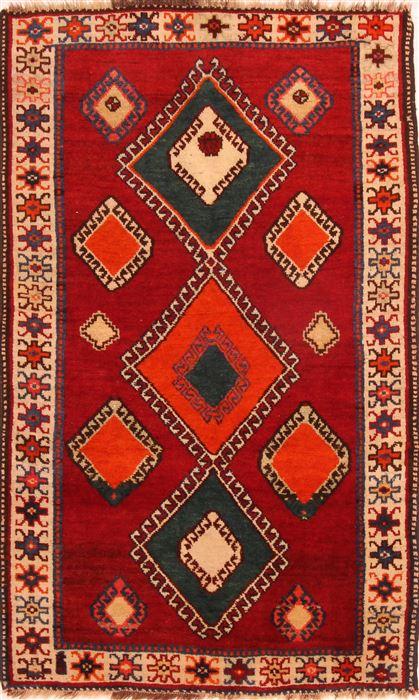 Persian Gabbeh Red Runner 3x5 Ft Wool Carpet 24363 Sku 24363