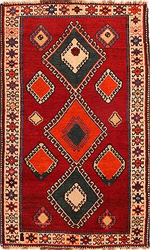 Persian Gabbeh Red Rectangle 3x5 ft Wool Carpet 24363
