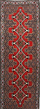 "Sanandaj Red Runner Hand Knotted 2'11"" X 8'4""  Area Rug 250-24370"