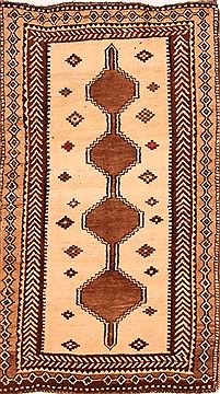Persian Gabbeh Beige Rectangle 3x5 ft Wool Carpet 24373