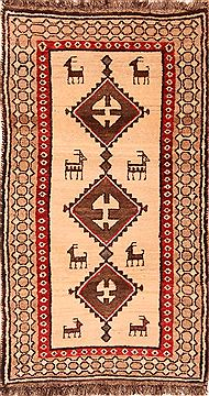 Persian Gabbeh Beige Rectangle 3x5 ft Wool Carpet 24390