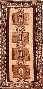 Persian Gabbeh Beige Rectangle 3x5 ft Wool Carpet 24395