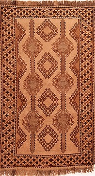 "Gabbeh Beige Hand Knotted 3'8"" X 6'3""  Area Rug 100-24400"