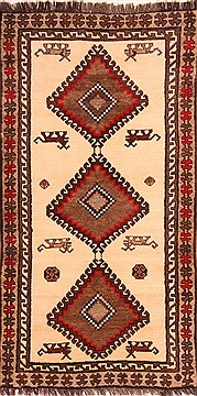 "Gabbeh White Hand Knotted 3'7"" X 6'11""  Area Rug 100-24402"