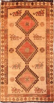 "Gabbeh Beige Hand Knotted 3'4"" X 6'3""  Area Rug 100-24413"