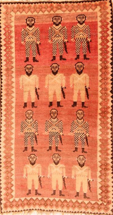 Persian Gabbeh Red Runner 3x5 Ft Wool Carpet 24421 Sku 24421