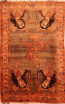 Persian Gabbeh Brown Rectangle 5x8 ft Wool Carpet 24429