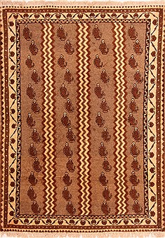 Persian Gabbeh Brown Rectangle 3x5 ft Wool Carpet 24435