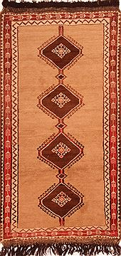 "Gabbeh Brown Hand Knotted 3'6"" X 6'9""  Area Rug 100-24440"