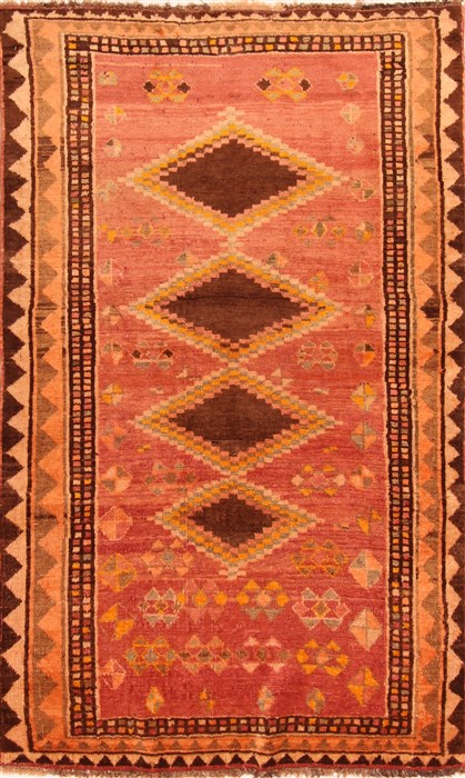 Persian Gabbeh Red Rectangle 5x7 Ft Wool Carpet 24454